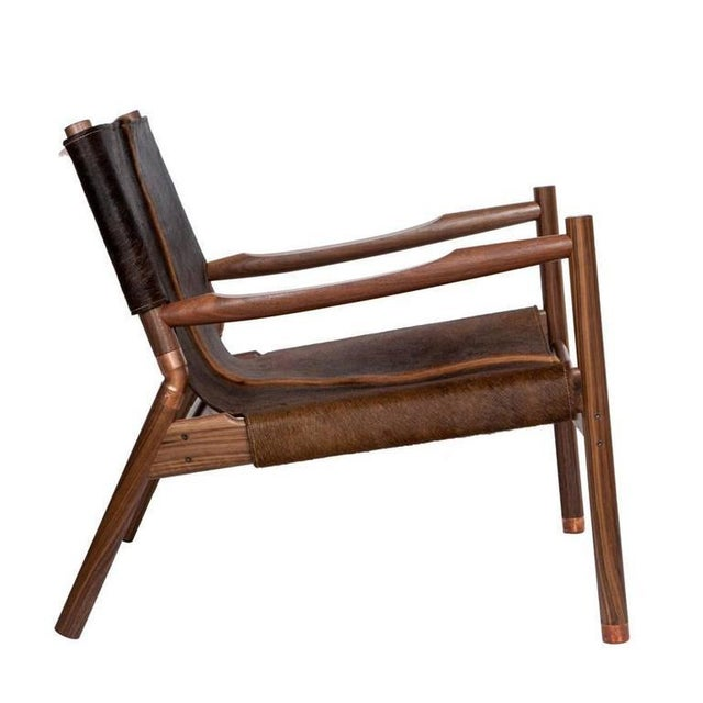 Customizable Erickson Aesthetics Slung Brindle Walnut Lounge Chair For Sale - Image 4 of 7