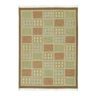 """Mid 20th Century Swedish Flat Weave Rug by Edna Martin - 8'3"""" X 11'6"""" For Sale"""