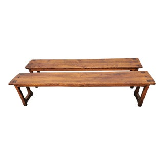 Antique Matching French Solid Oak Long Monastery Benches- A Pair For Sale