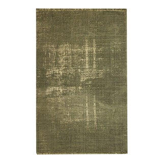 Olive Green Distressed Cotton 'Dhurrie' Rug - 4′ × 6′ For Sale