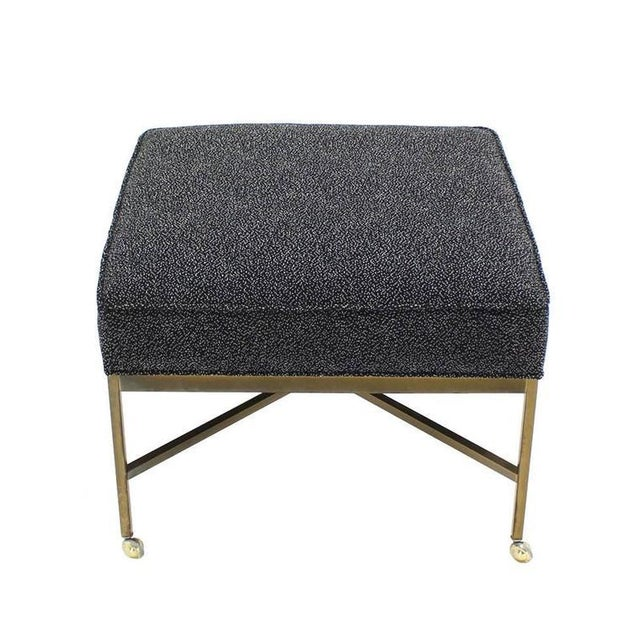 Mid 20th Century Large Solid Brass X Base Ottoman New Upholstery For Sale - Image 5 of 5
