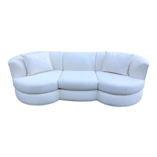 Vintage Mid-Century Modern Vladimir Kagan for Weiman Geometric Greek Key Ivory Sofa For Sale