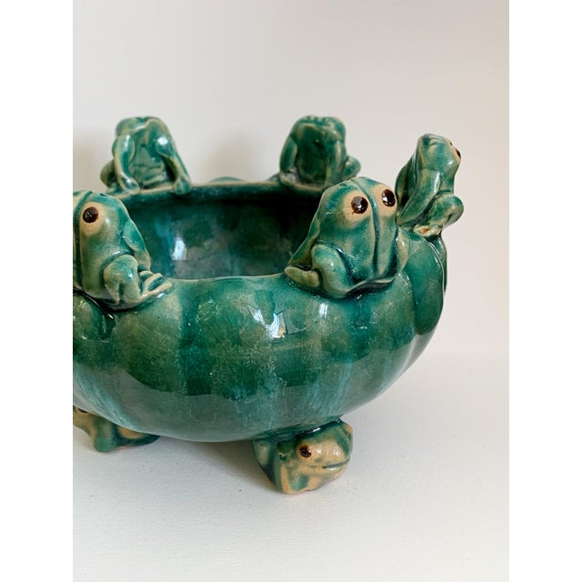 Country Vintage Majolica Glazed Pottery Footed Planter With 6 Sitting Frogs For Sale - Image 3 of 11