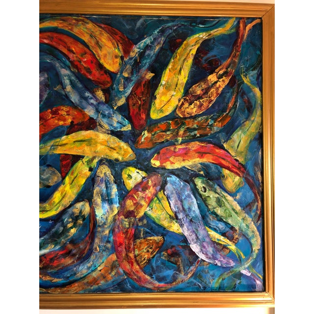 1990s Koi Fish Painting, Framed For Sale - Image 4 of 9