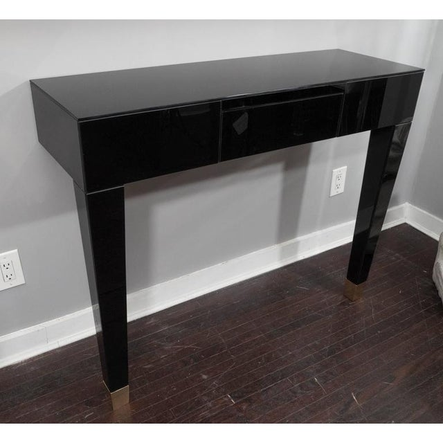Brass Black Glass Wall Mount Console Table For Sale - Image 7 of 7