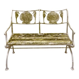 1930s Cast Iron Shell & Seahorse Motif Garden Bench by New York Marcy Foundry For Sale