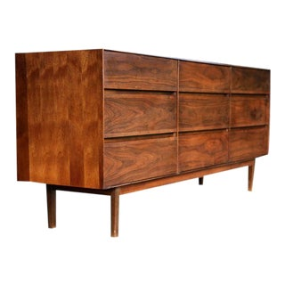 Stunning Quality, Mid Century Solid Walnut Credenza/Dresser Sideboard For Sale