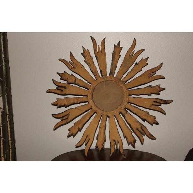 Antique French Gold Gilt Sunburst Mirror For Sale - Image 4 of 6