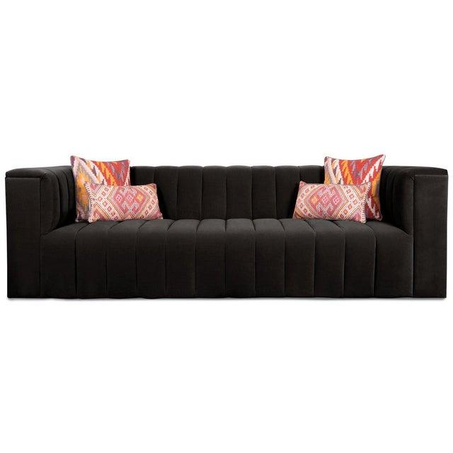 Contemporary Monaco Sofa in Black Velvet For Sale - Image 3 of 4