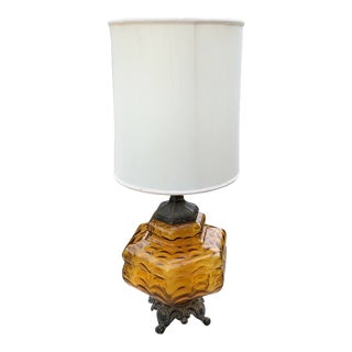 1970s Vintage Spanish Style Amber Glass and Brass Table Lamp