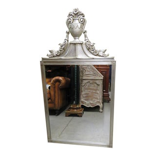 Regency Style Distressed Silver Gilt Wall Mirror For Sale