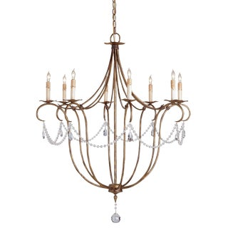 Contemporary Currey and Company Crystal Lights Silver Chandelier For Sale