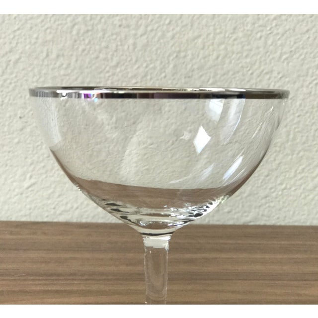 Mid-Century Silver Rimmed Champagne Glasses - Set of 4 - Image 4 of 5
