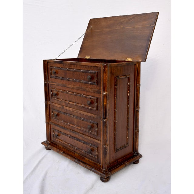 Wood Chinese Chippendale Caned Faux Bamboo Hamper For Sale - Image 7 of 11