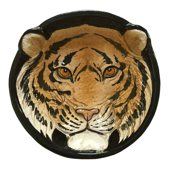 Mid-Century Large Tiger Face Pottery Bowl/Catchall - Made in Italy For Sale