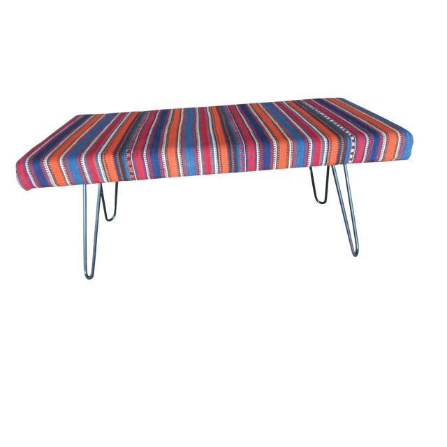 Kilim Bench With Hairpin Legs, Vintage Kilim Rug Ottoman, Kilim Upholstered Bench With Turkish Kilim Rug For Sale