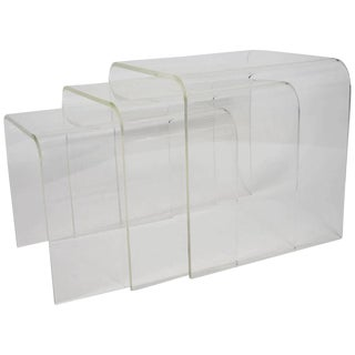 Contemporary Lucite Nesting Tables- Set of 3 For Sale