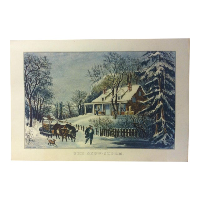 """Currier & Ives Color Print, """"The Snow Storm"""", 1954 For Sale"""