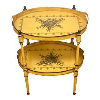 20th Century Italian Yellow Tole Tray Table For Sale