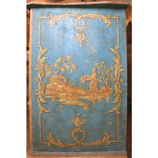 Blue 18th Century Italian Painted Chinoiserie Commode For Sale - Image 8 of 12