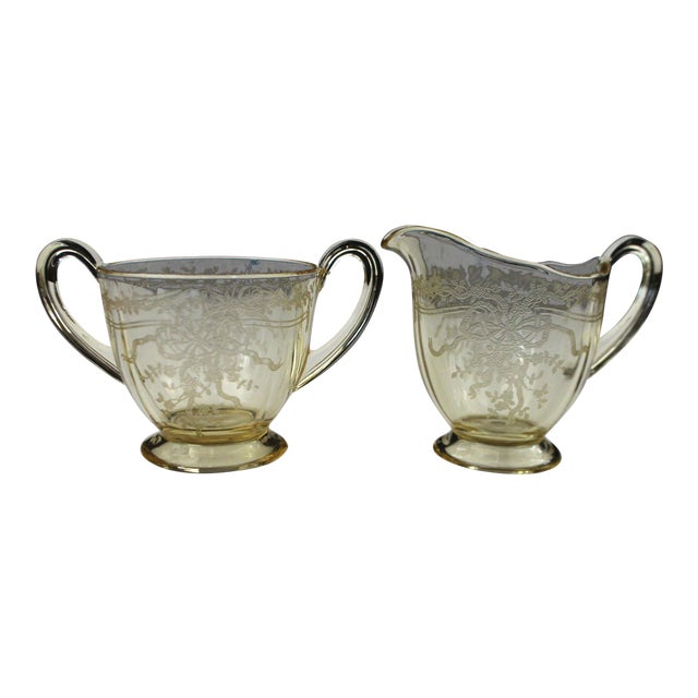 1930s June Topaz Yellow Creamer and Sugar Bowl by Fostoria - A Pair For Sale