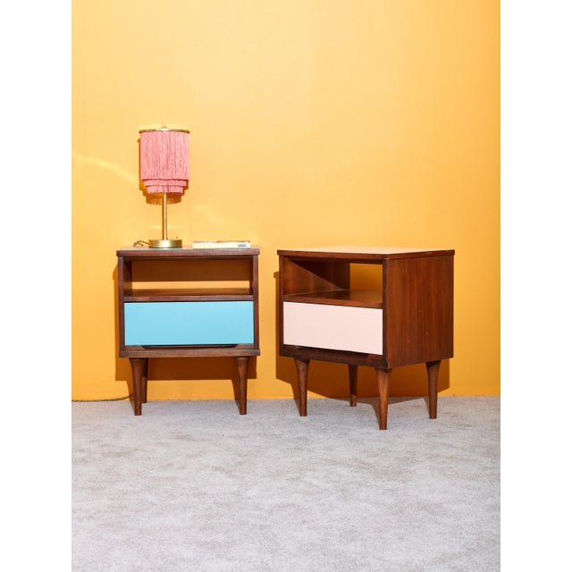 Pair of Pink and Blue Nightstands For Sale - Image 4 of 5