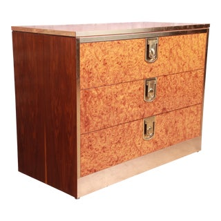Mastercraft Burl, Rosewood, and Brass Chest of Drawers, Circa 1970s For Sale