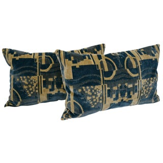 Luigi Bevilacqua of Milan Blue Art Deco Velvet Lumbar Pillows - a Pair