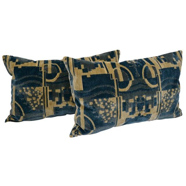 Luigi Bevilacqua of Milan Blue Art Deco Velvet Lumbar Pillows - a Pair For Sale