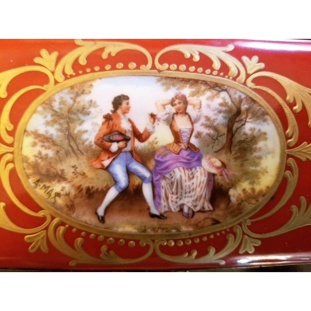 19th C. Sevres Porcelain Trinket Box With Ring Tray - Set of 2 For Sale - Image 12 of 13