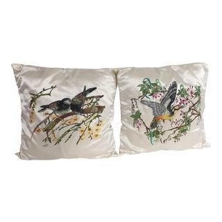Hand Painted Silk Pillows - A Pair