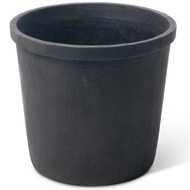 Contemporary Small Lipped Cylinder Planter in Matte Black For Sale - Image 3 of 3