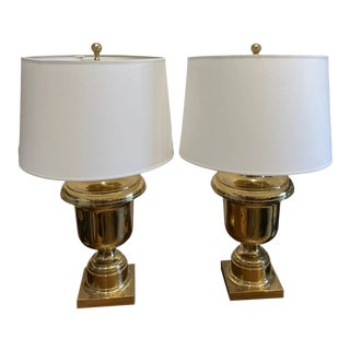 Vintage Brass Trophy Urn Table Lamp Pair For Sale