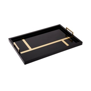 Flair Home Collection Righe Tray in Black / Brass For Sale