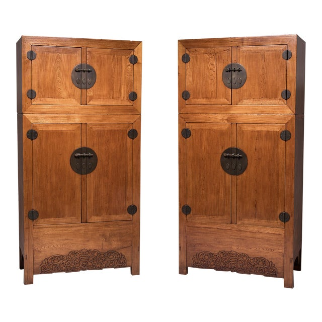 Pair of 19th Century Chinese Double Dragon Compound Cabinets For Sale