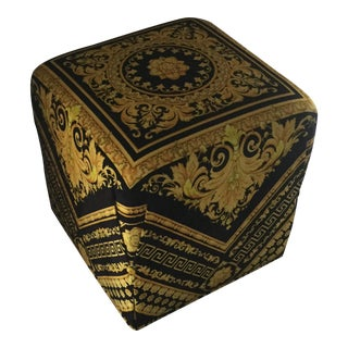 Gianni Versace Gold Black Barocco Custom Made Velvet Ottoman For Sale