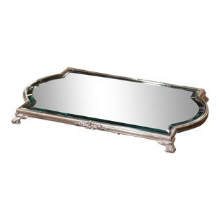 Mid-19th Century French Louis XVI Silver Plated and Mirrored Table Plateau For Sale