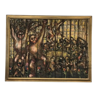 """""""Monkeys"""" Oil Painting by Roman Gyorgy, 1965 For Sale"""