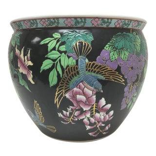 Famille Noire Porcelain Jardiniere/Fish Bowl With Koi Interior Design For Sale