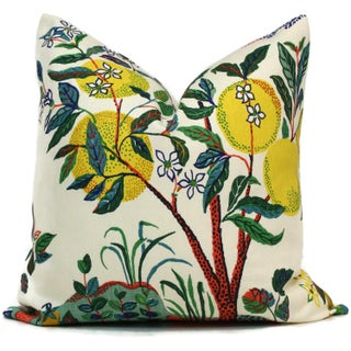 "20"" x 20"" Citrus Garden With Lemon Tree Decorative Pillow Cover For Sale"