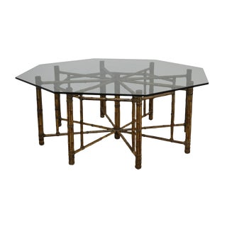 McGuire Large Octagonal Glass Top Bamboo Base Dining Table For Sale