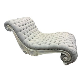 Luxe Furniture Large Rustic White Wash Tufted Chaise For Sale