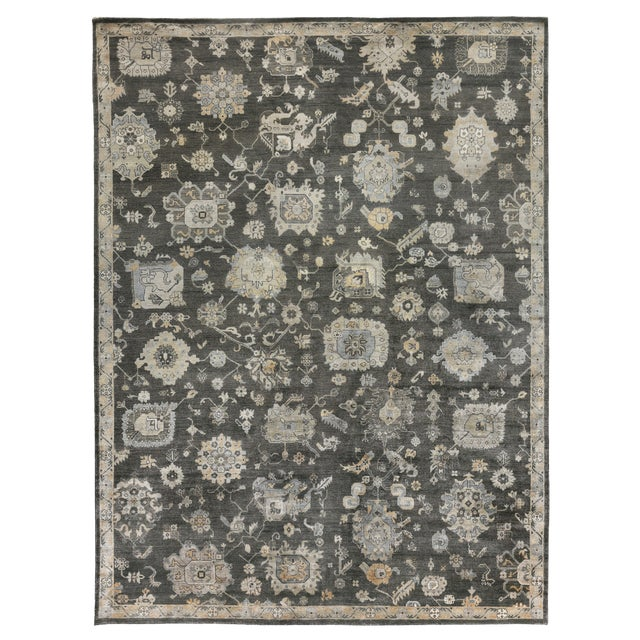 Chester Hand knotted Bamboo/Silk Midnight Rug-8'x10' For Sale