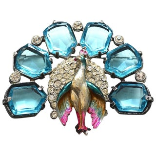 Hold 1930s Peacock Brooch For Sale