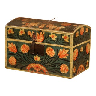 18th Century French Painted Trunk with Birds and Flowers from Normandy For Sale