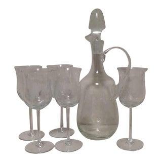 1940's Fostoria Etched Grape Wine Set - Set of 6 For Sale
