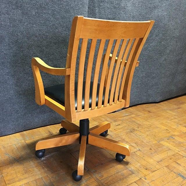 Adjustable Wood Banker's Desk Chair - Image 8 of 8