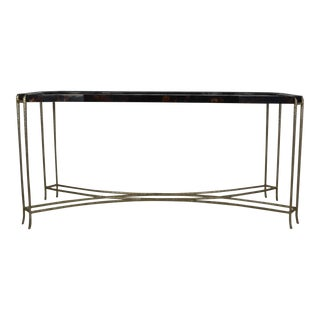 Contemporary Faux Turtle-Shell and Iron Console Table For Sale