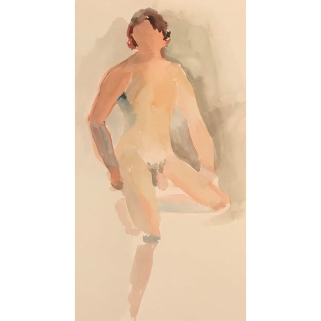 Contemporary Vintage Figurative Posing Male Studio Nude Watercolor Painting For Sale - Image 3 of 3