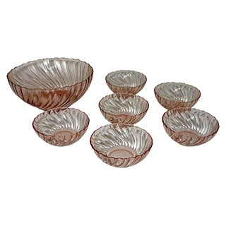 Pink Rosaline Glass Bowls - Set of 7